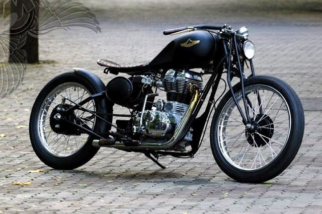 Nice Royal Enfield 500cc cafe/bobber style motorcycle.