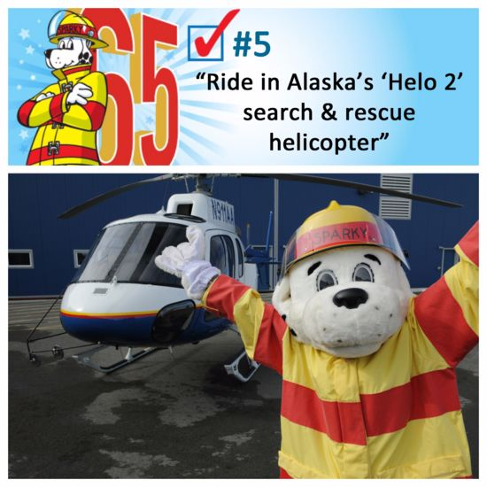 Sparky rides in a helicopter! #Sparkys65th #bucketlist
