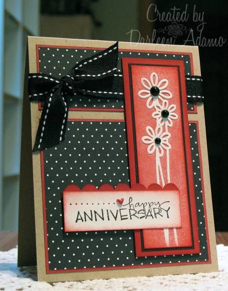 handmade greeting card: Daisy Anniversary by darleenstamps ... like the rusty red with kraft and black ... good design ... like this card!!