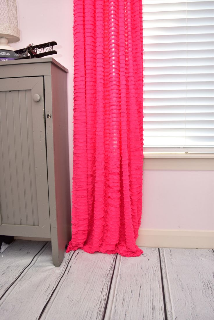 Pink Ruffle Curtain Panel Window Drape - Shabby Curtain - 96 Inch Curtain - Fuschia Curtain - Ruffle Sheer Curtain - Living Room Drapery by avisiontoremember on Etsy https://www.etsy.com/listing/153834738/pink-ruffle-curtain-panel-window-drape