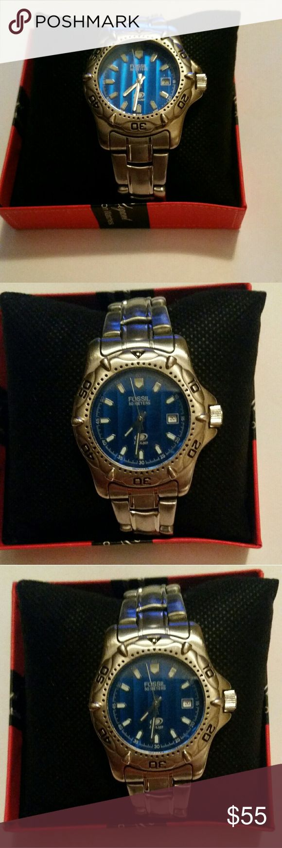 Mens Fossil Blue Watch AM-3196 Used Men's Fossil Blue Watch AM-3196 Silver Toned Blue Face 50Meters H20resis.  Band Material: Stainless steel  100% Authentic  Movement: Quartz, Battery  Style: Luxary Dress, or Casual  Display: analog Very well taken care of Fossil Accessories Watches