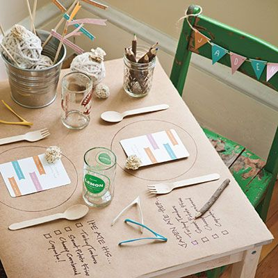 "Set a Special Place for Kids | Cover a small table with butcher paper. Draw a circle where each plate will go. Write a ""to-do"" list next to each spot, and provide crayons or colored pencils so pint-size diners can mark off items as they eat. (Use this idea for the holidays.)"