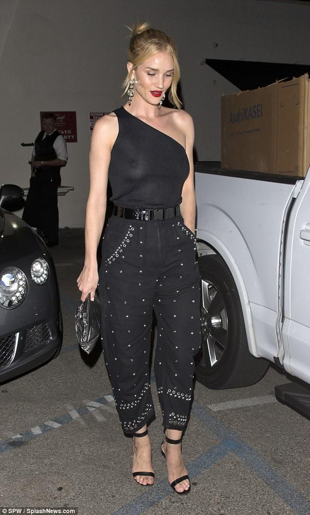 d258dca22dd3d Rosie Huntington-Whiteley goes braless under daring semi-sheer top for  night out in West Hollywood