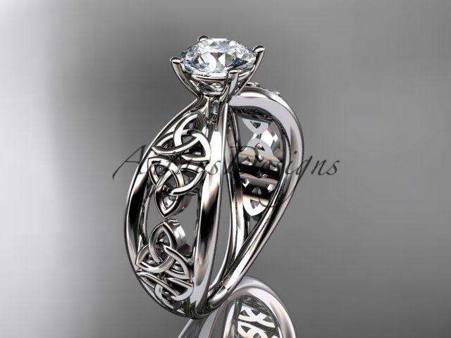 14k white gold diamond celtic trinity knot wedding ring, engagement ring CT7171