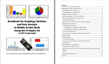 This 30-page handbook ties together everything you need to use TI-Spire technology to teach middle school level data graphing and statistics. It will show you, step-by-step, how to create bar graphs, pie graphs, dot plot, box plots and histograms, and several methods for finding mean and quartiles, as well as an easy way to calculate Mean Absolute Deviation (MAD) with TI-Nspire.