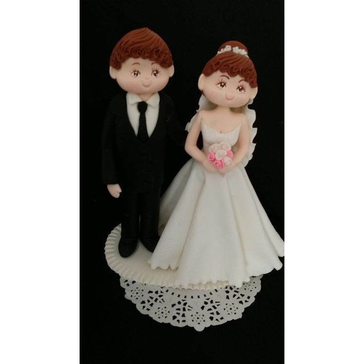Unique Wedding Cake Topper, Bride & Groom Cake Topper, Bride on White Wedding Gown Cake Topper, Couple Wedding Cake Topper , Wedding Cake