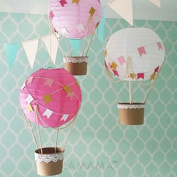 Whimsical Hot Air Balloon decoration DIY Kit - hot pink and gold - nursery decor - travel theme nursery - set of 3