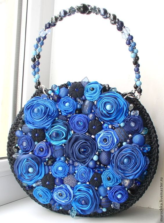 """Сумочка """"Синяя магия"""" - синий,цветочный,модные оттенки,сумочка из атласных лент"""