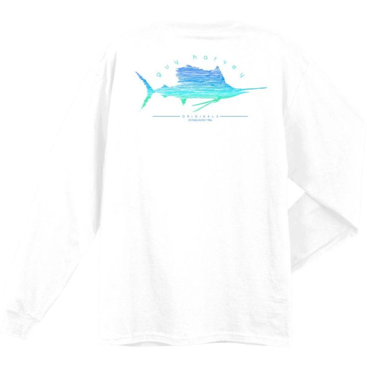 Guy Harvey Sailfish Scribble Long Sleeve Shirt, Men's, Size: Medium, White