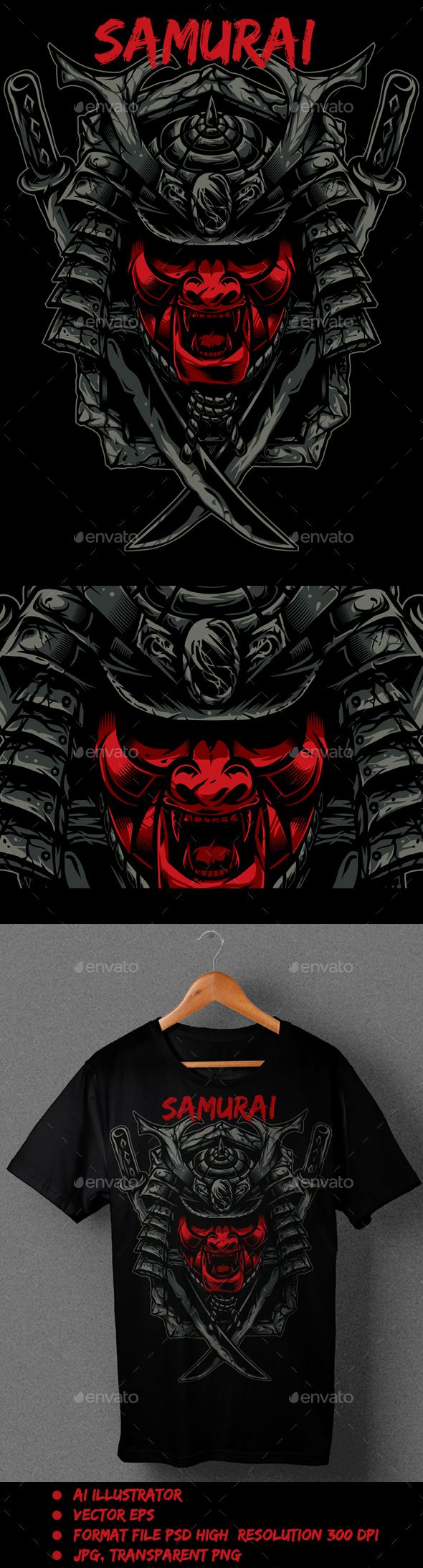 Samurai Red T-Shirt illustration Vector AI, EPS #design Download: http://graphicriver.net/item/samurai-red/13037124?ref=ksioks