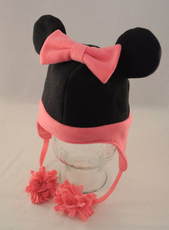 Pink Minnie Mouse Inspired Fleece Hat by TheCraftEGalShop on Etsy, $22.00