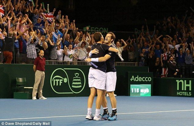The Murray brothers celebrate a huge victory for Great Britain in their quest to reach the Davis Cup final