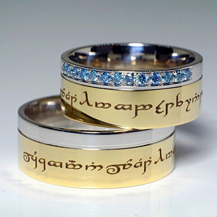 Verighete din Aur cu diamante albastre v113