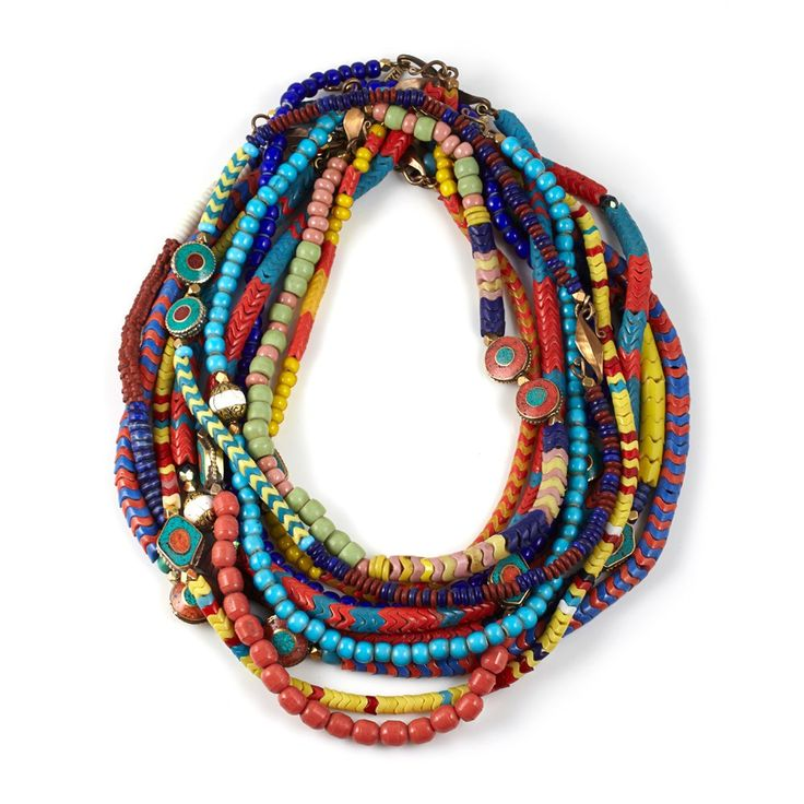 African beads mixed in random, beautiful and colorful way.