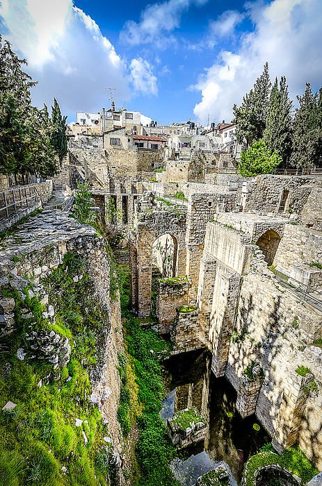 Located in the Muslim Quarter of Jerusalem, the Pool of Bethesda is where Jesus healed a paralyzed man according to the Gospel of John. The name Bethesda means either House of Mercy or House of Grace. The pool was a gathering place for the blind, sick and crippled during biblical times. It was understood at the time that when an angel stirred the waters, the first person into the water would be healed.