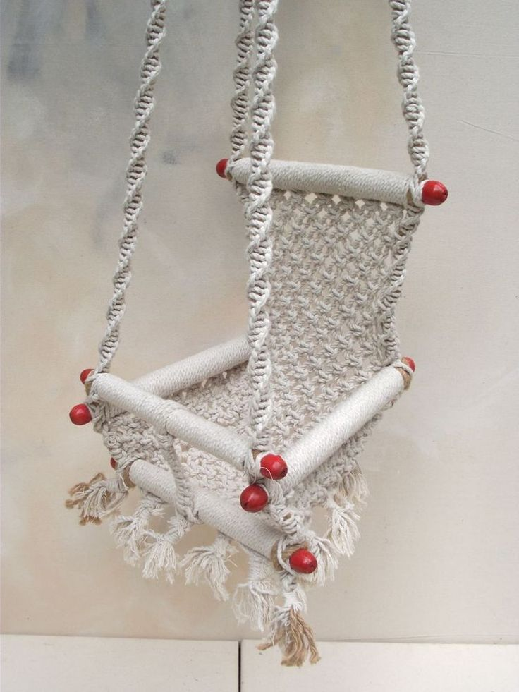 Image of macrame kids swing chair macrame for home for Diy macrame baby swing