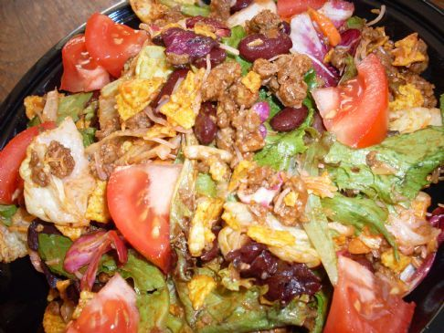 Healthified White Trash Taco Salad Recipe - I like the salsa idea in the comments (will probably skip the ground beef altogether).