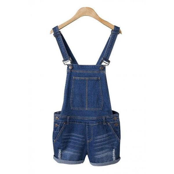 Blue Casual Denim Overalls (97 BRL) ❤ liked on Polyvore featuring jumpsuits, denim jumpsuit, denim bib overalls, blue overalls, bib overalls and blue denim overalls