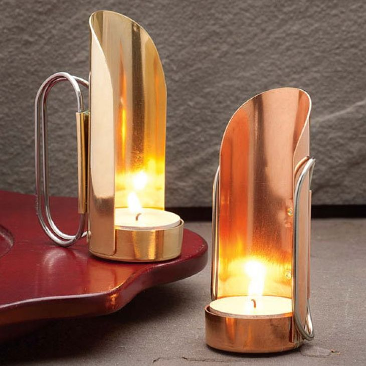 Brass & Copper Candleholders Warm reflected light can be placed anywhere Made in the USA
