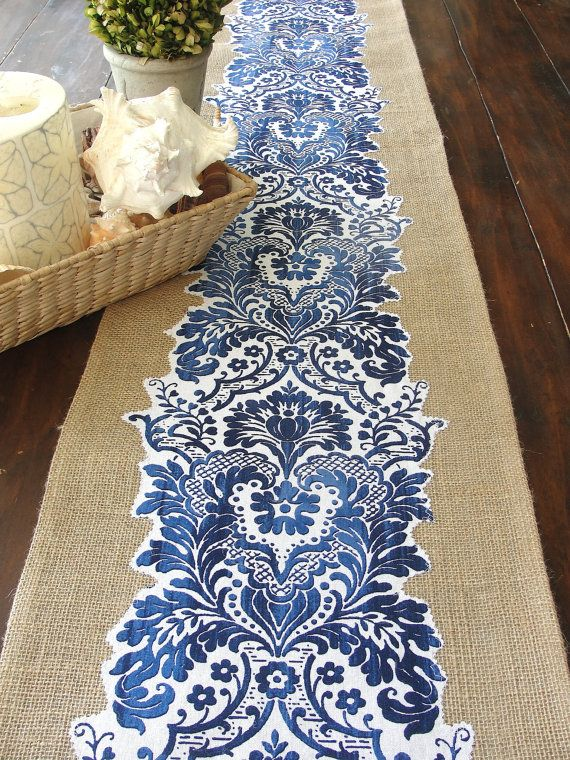 Burlap table runner extra long blue and white summer table decor wedding table runner,  handmade in the USA  by Hot Cocoa Design