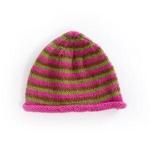 Yarn Companies Free Knitting Patterns : Free Knitting Pattern 70055AD Narrow Striped Cap : Lion Brand Yarn Company ...
