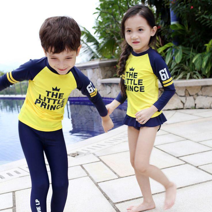 Traje Baño Natacion Ninos:Iyiya-de-manga-larga-traje-de-baño-para-niños-divertido-trajes-con