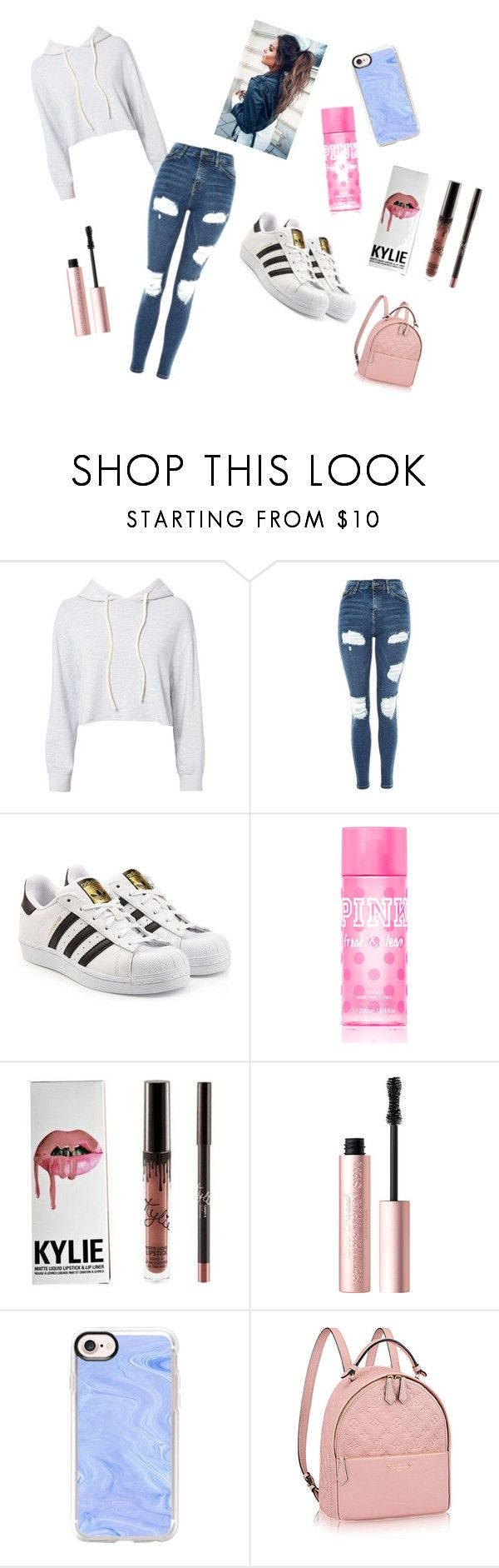 """Day out shopping with friends"" by maddy-lane235 on Polyvore featuring Monrow, Topshop, adidas Originals, Victoria's Secret PINK, Too Faced Cosmetics and Casetify"