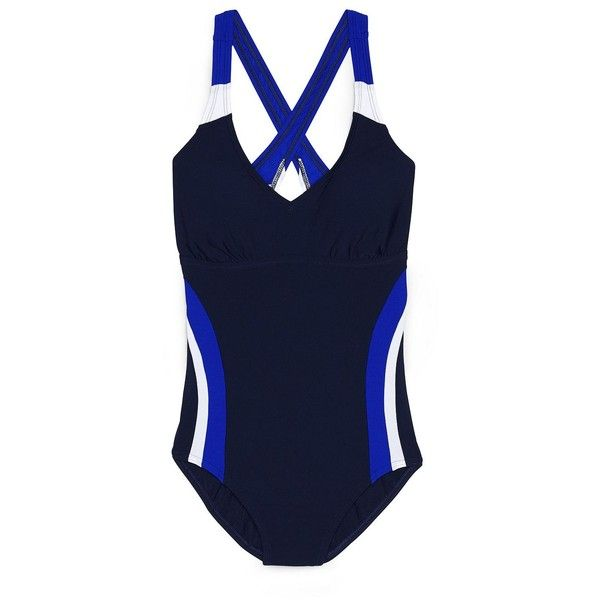 Lands' End Women's Petite Polyester One Piece Suit - AquaSport (71 CAD) ❤ liked on Polyvore featuring swimwear, one-piece swimsuits, blue, 1 piece bathing suits, petite swimwear, petite one piece swimsuits and lands end bathing suits
