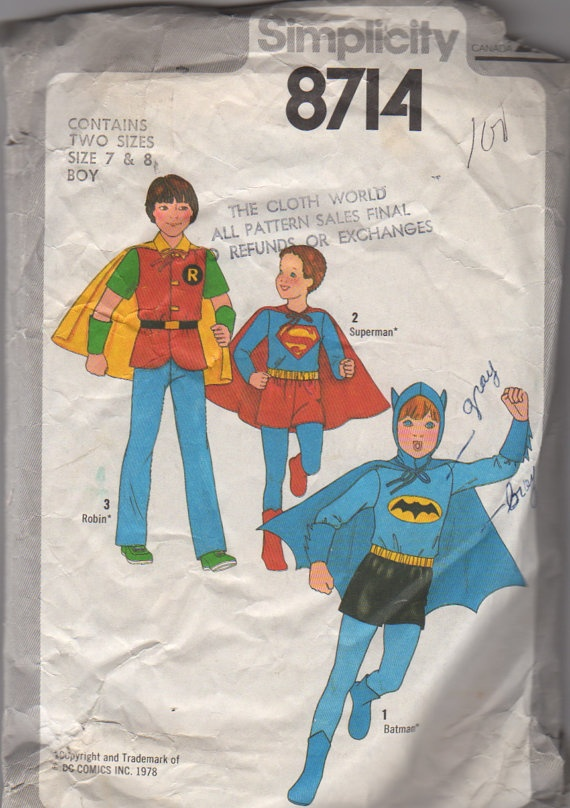 simplicity 8714 1970s kids batman robin and superman costume by mbchills boys vintage sewing pattern - Halloween Costume Patterns For Kids