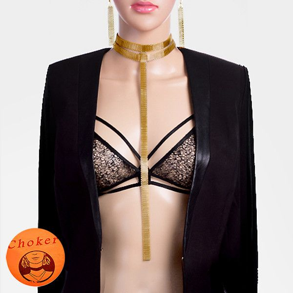 """13"""" gold mesh choker layered collar necklace 3.75 earrings"""