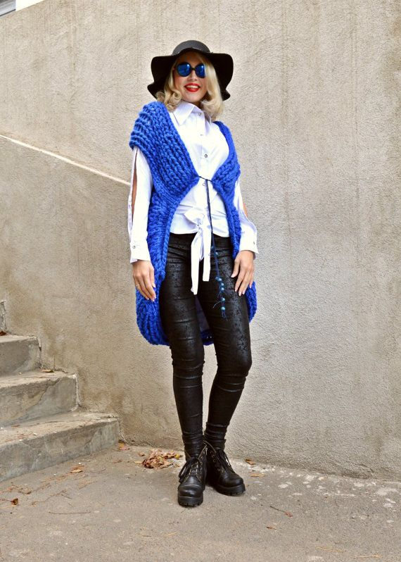 ON SALE Blue Wool Vest / Extravagant Knitted Vest / by Teyxo