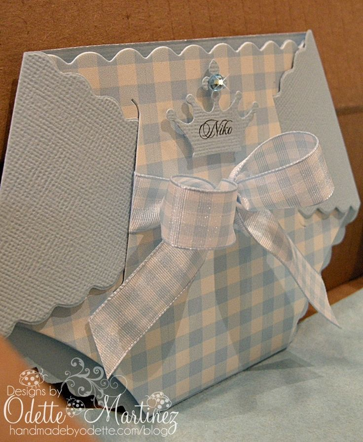 Baby Boy Diaper Card - Handmade by Odette