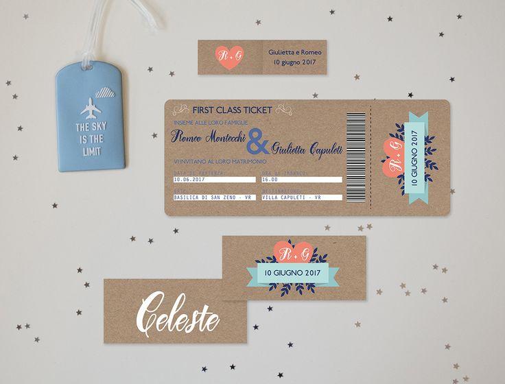 Partecipazione di nozze a forma di biglietto aereo completamente personalizzabile!