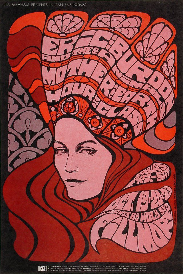 Eric Burdon & The Animals Poster - Rock posters, concert posters, and vintage posters from the Fillmore, Fillmore East, Winterland, Grande Ballroom, Armadillo World Headquarters, The Ark, The Bank, Kaleidoscope Club, Shrine Auditorium and Avalon Ballroom.