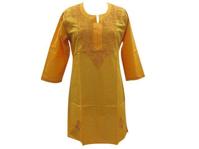Embroidered Kurti Long Paisley Tunic Top Very Fine Cotton Yellow