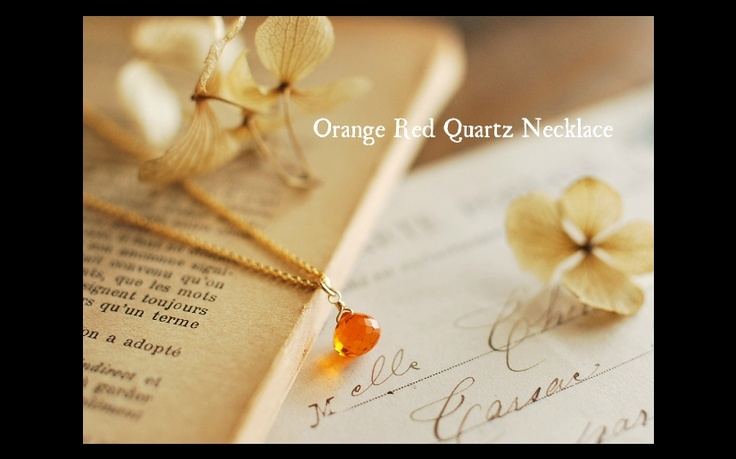 orange red quartz necklace