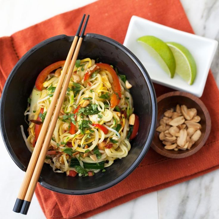 In this �spiralized� vegetable noodle recipe inspired by pad Thai, zucchini and summer squash replace the rice noodles, pumping up the vegetables while reducing calories. Top with stir-fried chicken, shrimp or tofu for added protein if desired.