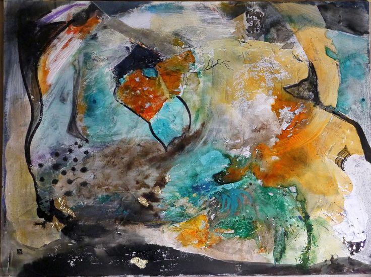 F te des p res tableau abstrait toile turquoise orange for Peinture a tableau exterieur