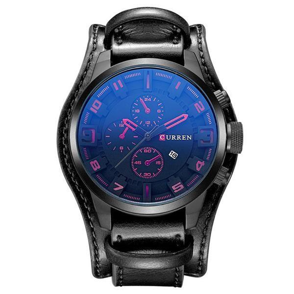 CURREN 8225 Fashion Men Quartz Wristwatch Creative Leather Strap Sports Watch at Banggood