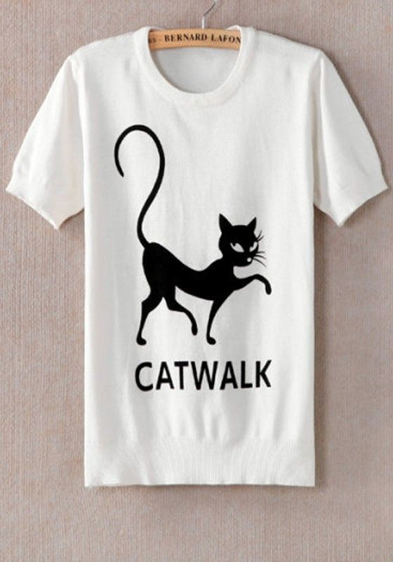 Love Love Love this Catwalk Tshirt! So CUTE! White  Cotton T-Shirt #Black_and_White #Catwalk #Tshirt #Fashion