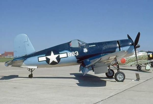 "In March of 1981 Commemorative Air Force Dixie Wing's Corsair was delivered to Vought CEO Norm Thayer. Once again the Corsair took to the airshow skies this time in the USMC markings representing VMF-214 which was one of the Corsairs piloted by Maj. Greg ""Pappy"" Boyington."