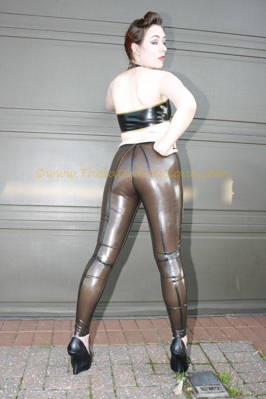 #Transparent black #latex leggings