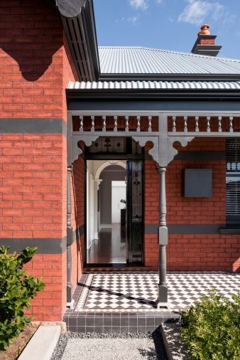 The front entrance retains many elements of the heritage home