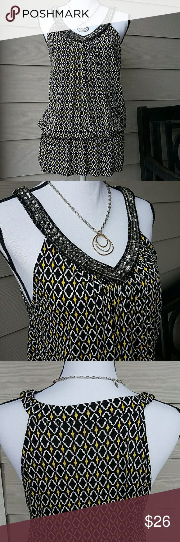 Macy's INC Top W/Sequin & Beading Detail SZ Large V-neck with Sequin and Beading Detail around Neckline,  Elastic below Waist, Colors:  Yellow, White, Black, Cut in Shoulders. Excellent Condition - tried on Never Wore. INC International Concepts Tops