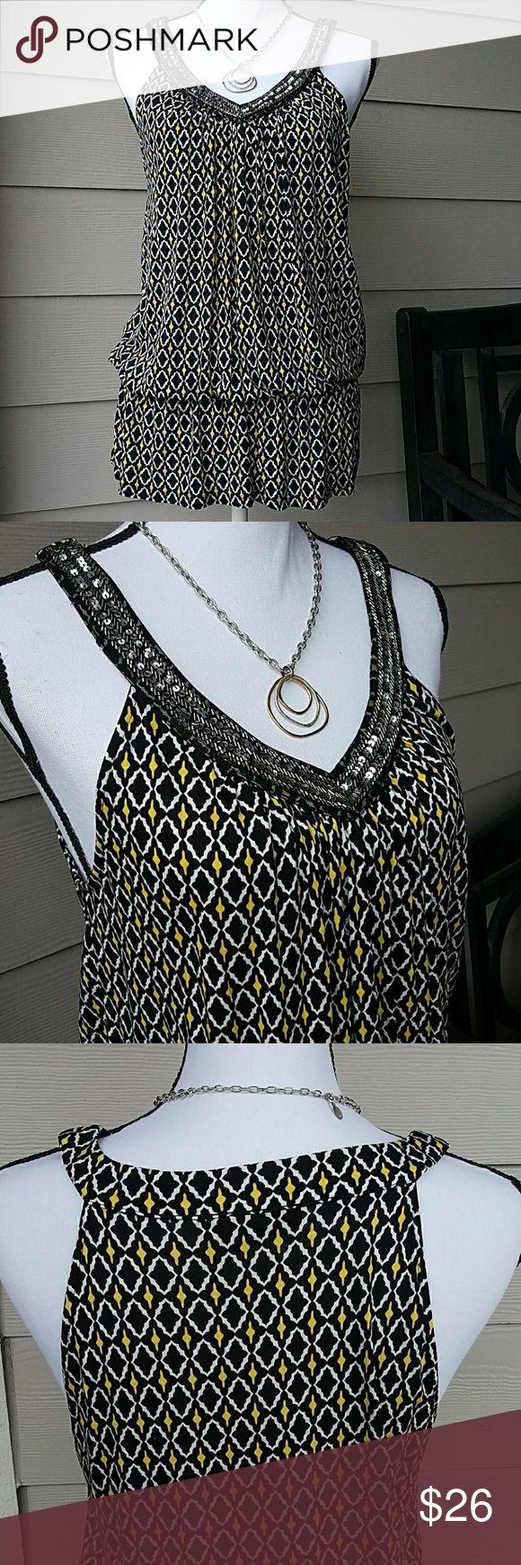 White apron macy's - Macy S Inc Top W Sequin Beading Detail Sz Large