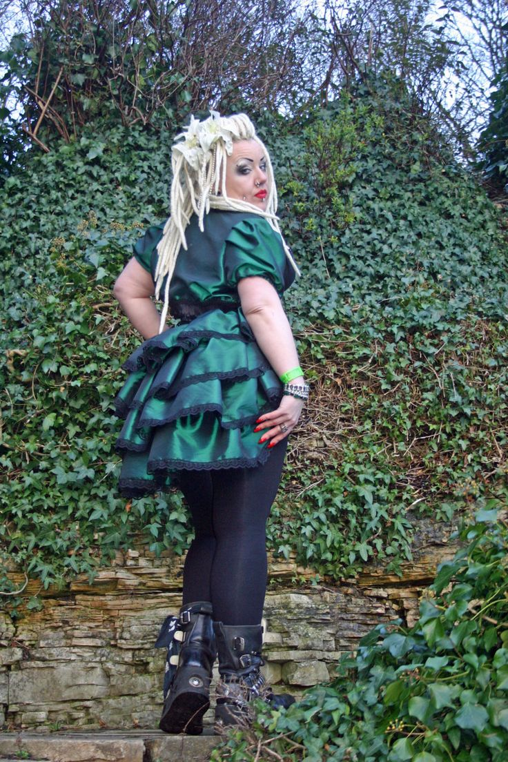 Gothic Green Taffeta tiered bustle by NightshadesClothing on Etsy