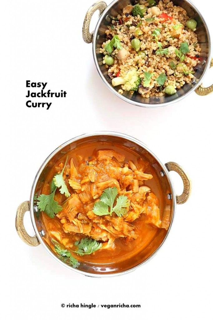 How to make green Jackfruit curry. Young green jackfruit makes a great shredded meat sub. Easy, Vegan, Soy-free Gluten-free Grain-free Indian curry.