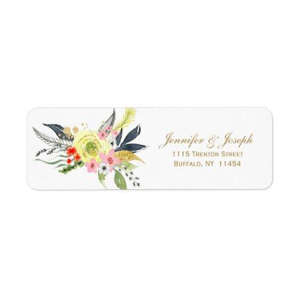 Gray Gold Red Floral Wedding Return Address Label - red gifts color style cyo diy personalize unique