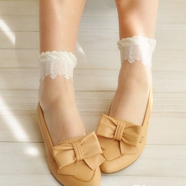 Women Ultra-Thin Transparent Print Crystal Lace Ankle Socks online - NewChic