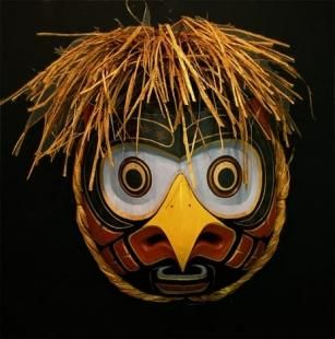 Like many Native American masks, this owl mask is carved from Red Cedar and is on display at Just Art Gallery in Port McNeill, British Columbia.